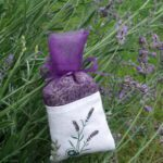 See-Through Plum Purple Bag with White Band (3 Sprigs of Lavender)