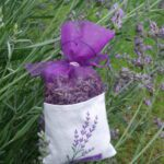 See-Through Plum Purple Bag with White Band (4 Sprigs of Lavender)